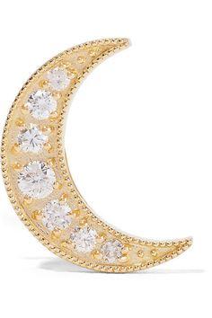 Andrea Fohrman - Mini Crescent Gold Diamond Earring - one size Gold Diamond Earrings, Women's Earrings, Diamond Stud, Modern Jewelry, Gold Jewelry, Jewellery, Bling, Polyvore, Latest Trends