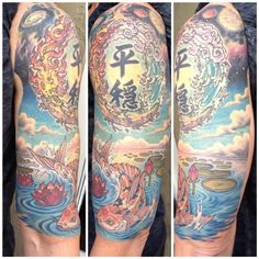 "My completed Japanese-inspired half sleeve.   The kanji in the middle is Japanese; it says ""heion"", which means ""tranquil"" as in a state of mind. Around it are the four elements, earth, fire, air and water. The background goes from space down to a river where my koi lives amongst the lotus. Done by Ant at Ascension Custom Dermagraphics in Orlando, FL."