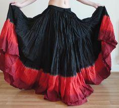 red,burgundy,black 25 yard tribal bellydance ats skirt~