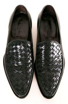 ^Black Leather Bottega Veneta loafers, Men's Spring Summer Fashion.