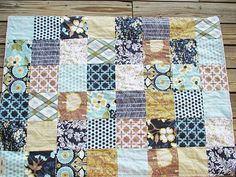 Minky Crib Quilt, Modern Meadow in Pond, boy / girl, PLUSH for baby, fresh modern handmade baby bedding. $145.00, via Etsy.