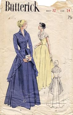 Vintage Pattern Dress-Evening Gown-Factory Folded Source by ambermiddaugh Kleider Evening Dress Patterns, Vintage Dress Patterns, Clothing Patterns, Formal Dress Patterns, Vintage Outfits, Vintage Dresses, Vintage Clothing, 1950s Fashion, Vintage Fashion