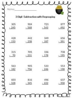 math worksheet : 3 digit subtraction with regrouping  worksheets and articles : 3 Digit Addition With Regrouping Worksheets 3rd Grade
