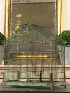 Vintage birdcage 65 A charming birdcage with a pitched roof from the 1970s, once used to house a domestic bird. Use as decoration inside and outside, or perhaps for a new family member?  Maximum height at peak 65cm 61cm long x 32cm wide