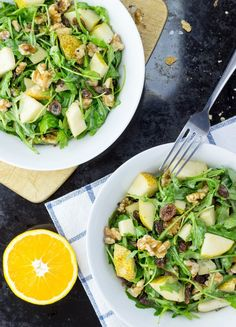 Crunchy Pear Walnut Salad with a Mustard Orange Dressing #vegan #salad | hurrythefoodup.com