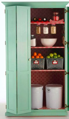 Love this pantry... don't forget to reuse jars for storage by attaching the lids to the shelves!
