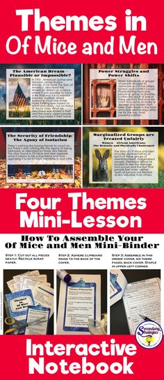 Themes in Of Mice and Men : Interactive Mini-Binder and Theme Lesson English Gcse Revision, Gcse English, English Lessons, Mini Binder, Reading Resources, Classroom Resources, Classroom Ideas, American Literature, English Literature