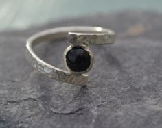 Engagement Ring, Silver Ring, Onyx Ring, Hammered Ring, Custom Ring, Sterling Silver Ring, Quirky Ring, Wrapped Ring, Hand Made Ring