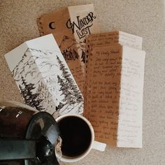 """ladyofanaturalstate: """"Letters from my favorite + coffee in a messy pot. Monday made lovely. (please don't delete description, the art in this photo taken by me is created by Moon and Trees and it..."""