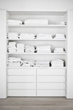 linen closet makeover by ikea. it needs some sliding barn doors on it! diy malm DIY Built Ins - Ideas, Projects & Tutorials Closet Storage, Closet Organization, Laundry Storage, Laundry Room, Kitchen Organization, Ikea Malm Dresser, Malm Drawers, Closet Dresser, Closet Drawers