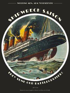 """Shipwreck Saison, G.I.B.B., Stockholm 2013. """"Vi namnger alla våra öl efter historiska händelser det datum som ölen bryggdes på, 7 maj 1915 sjönk Luisitania efter att den blivit torpederad av en tysk u-båt, 7 maj 2013 bryggdes Shipwreck saison i ett kök i Gröndal, resten är historia."""""""