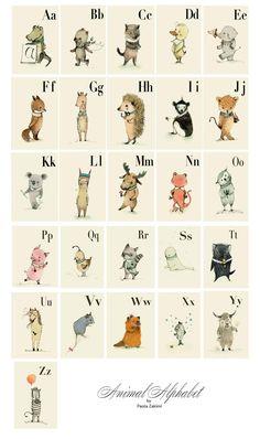 Animals Alphabet Wall Cards - Alphabet Nursery Art, ABC Flash Cards, Kids Wall Art, Alphabet Animal, Letter Wall Art,  SET 26 Prints by holli on Etsy