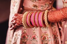 Elegant bangles sets for your wedding you have never seen anywhere. Some of the most beautiful bangles sets for brides. Bridal Chura, Bridal Lehenga, Silk Thread Bangles, Bridal Bangles, Different Shades Of Pink, Wedding Planning Websites, Bangle Set, Chandigarh, Bridal Looks