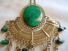 Vintage large gemstone Peruvian pendent Necklace by houuseofwren