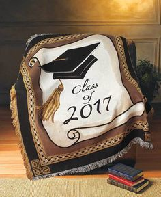 "Class of 2017 Graduation Throw Blanket College/High School 50"" X 60"" Keepsake #Unbranded"