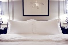 crisp white bedding and simplicity.