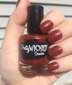 Blood Red Nail Polish Jezebel Polish Red by PrettyWickedCosmetic
