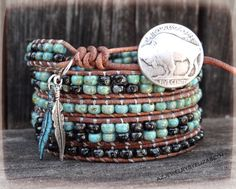 Buffalo Leather Wrap Bracelet Native by AZJEWELRYBYELIZABETH