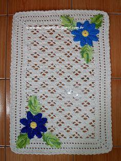 Crochet et Tricot da Mamis: Tapete em Crochet com Aplique Margaridas Mamis-Grá...