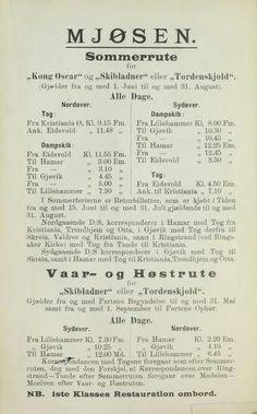 "Mjøsen reisehandbog 1906 sommerrute ""Kong Oscar"" - ""Skibladner"" - ""Tordenskjold"""