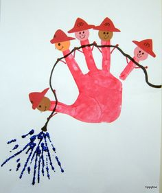 "Today we talked about the important role of firefighters. Our craft project was based on a poem called ""Five Little Firefighters."" I got the..."