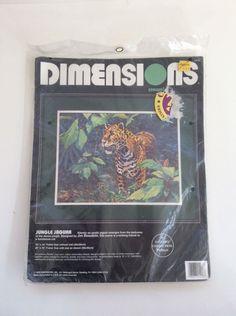 Dimensions Crewel Jungle Jaguar 1418 NEW Vintage Needlepoint Kit #Dimensions