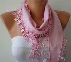 Pink Scarf   Pashmina Scarf   Headband Necklace Cowl by fatwoman, $13.50