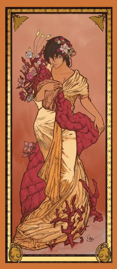 My bf wanted me to post his art on my blog. So here's the Mucha inspired Casca he did for an art project.