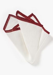 Great Valentine's Gift For Him: White Linen Pocket Square with Burgundy Edge