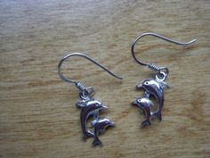 Vintage Sterling Silver Dolphin Earrings by gammiannes on Etsy, $10.00