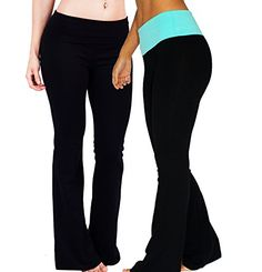 Foldover Waistband Stretchy Cottonblend Yoga Pants Medium 2Pack 2 Pack Black  BlackAqua Blue >>> Find out more about the great product at the image link.-It is an affiliate link to Amazon.