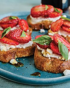 Strawberry Bruschetta with Goat Cheese and Pine Syrup