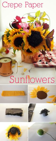 Crepe paper is the BEST! How gorgeous are these crepe paper sunflowers? Exactly what your home or work desk needs (no watering required!) http://www.ehow.com/ehow-crafts/blog/how-to-make-a-crepe-paper-sunflower/?utm_source=pinterest&utm_medium=fanpage&utm_content=blog