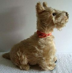 Vintage old Deans' Rag Book mohair Terrier dog with label, 1940s.