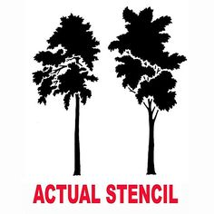 Cutting Edge Stencils - Tall Leafy Trees Stencil. $29.95. See more Fresco and Mural Stencils: http://www.cuttingedgestencils.com/wall-stencils-murals-oaks.html    #fresco #mural #stencils #cuttingedgestencils #stenciling #stencilpatterns