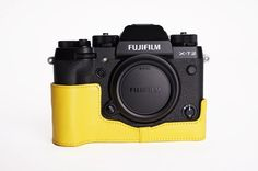 Fuji Case, BolinUS Handmade Genuine Real Leather Half Camera Case Bag Cover for Fuji Fujifilm Bottom Opening Version -Yellow >>> You can get additional details at the image link. Fuji Camera, Camera Case, Fujifilm, Real Leather, Amazon, Image Link, Handmade, Bags, Cover