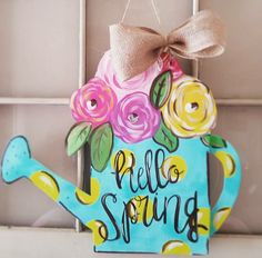 Check out this item in my Etsy shop https://www.etsy.com/listing/507273432/watering-can-spring-flowers-door-hanger