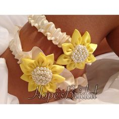 Sunflower Wedding Garter set in Ivory and Sunflower by HopesBridal