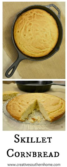 Cornbread cooked in a skillet gives it such a wonderful flavor and texture. A nice crispy outside and wonderful soft inside. This is simple southern recipe that your family will love. It goes great with pinto beans and ham or slather is with butter and honey! www.creativesouthernhome.com