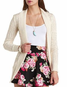 Long Open Cable Knit Cardigan Sweater: Charlotte Russe