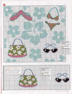 0 point de croix mode d'été, bikini, tongs et lunettes de soleil - cross stitch summer fashion, bikini, flip-flops & sunglasses