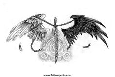 Angel Outline Tattoo Angel Tattoos in Black And