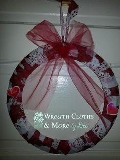 12  Be Mine Valentine Cloth Wreath by WreathClothsbyDee on Etsy, $10.00