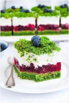 Ciasto leśny mech z malinami Cheesecake Recipes, Dessert Recipes, Spinach Cake, Delicious Desserts, Yummy Food, Food Carving, Pastry And Bakery, Polish Recipes, Different Cakes