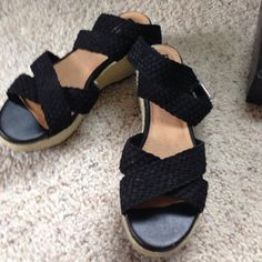 Adam tucker ... Me too,  black wedges Wedges that haven't been worn, ankle straps Adam Tucker Shoes Wedges