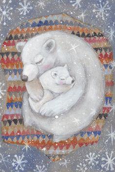 POLAR BEARS Watercolor Greeting Card set - Winter Card - Blank Greeting Card - Folded Card - Animal Card - Art Card by SleepyBearsArt on Etsy