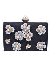 Black Evening Handbags Glitter 3D Flower Pearl Wedding Clutches
