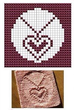 Heart Necklace Knit Dishcloths Pattern adaptable for baseball or plain heart! Knitting Squares, Dishcloth Knitting Patterns, Crochet Dishcloths, Knitting Charts, Loom Knitting, Knitting Stitches, Hand Knitting, Crochet Patterns, Crochet Chart