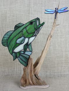 Large Mouth Bass Stained Glass With Dragonfly On Wood Base