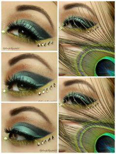 peacock inspired make-up with crystal accents.